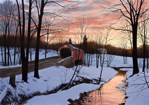 Landscape painting of snow and river