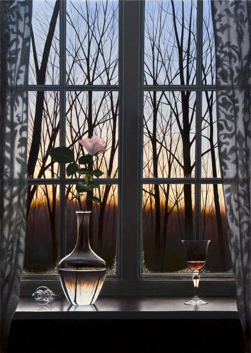 Windowpane with rose
