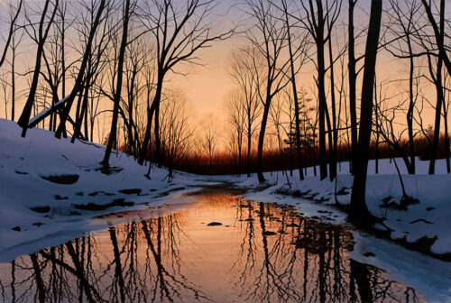 Winter river in Forest Painting