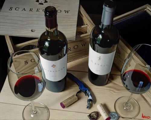 Wine, wine opener, and cork painting