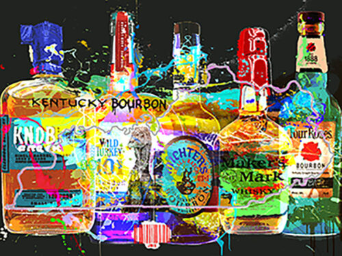 Contemporary Painting of Whiskey Bottles