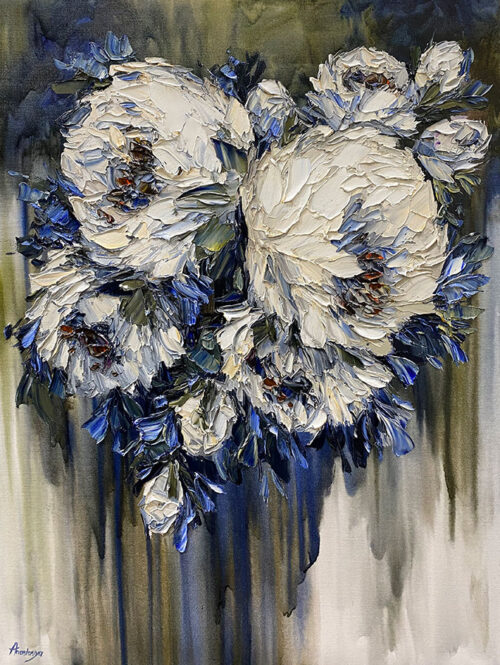 Blue Floral Oil Painting