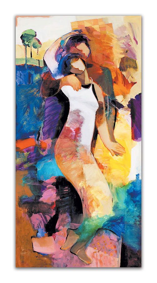 Adoration by Hessam Abrishami. Artwork featuring vibrant colors and contemporary figure paintings. Abstract paintings that energize spaces.