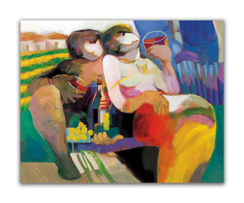 Afternoon Amore by Hessam Abrishami. Painting of Abstract Couple. Artwork featuring vibrant colors & contemporary figure painting. Abstract paintings that uplift spaces.