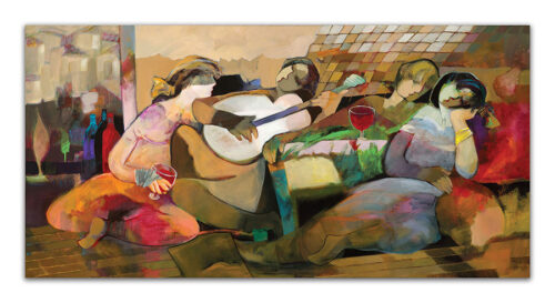 Abstract Painting of Figures playing music together