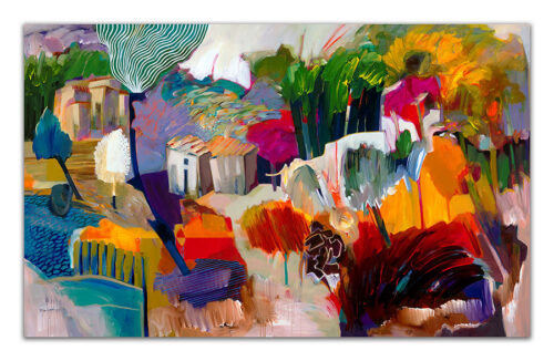 Autumn Beauty by Hessam Abrishami. Abstract Landscape Painting. Artwork featuring vibrant colors & contemporary figure painting. Abstract paintings that uplift spaces.