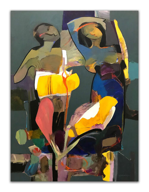 Beauty of Dark by Hessam Abrishami. Painting of Abstract Women. Artwork featuring vibrant colors & contemporary figure painting. Abstract paintings that uplift.