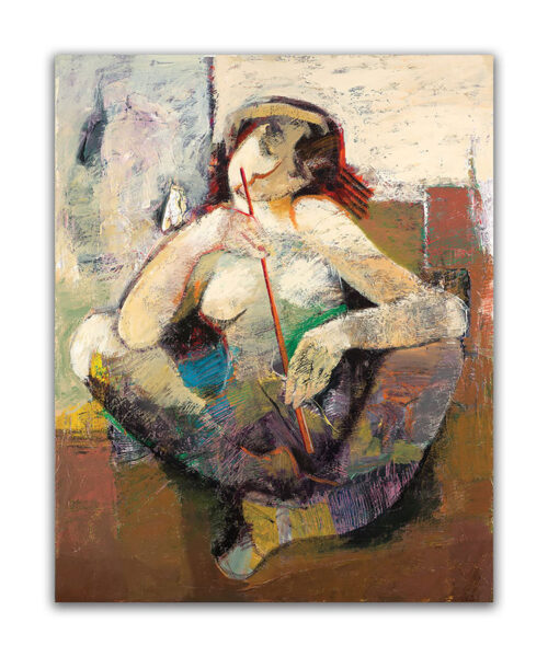 Beginning of Beauty by Hessam Abrishami. Contemporary Abstract painting of woman. Artwork featuring vibrant colors & contemporary figure painting. Abstract painting that uplift spaces.