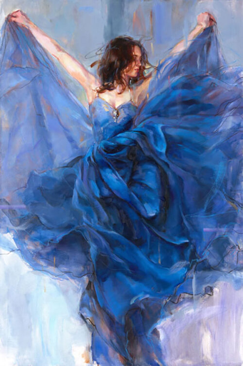 Painting of Woman in Blue Gown