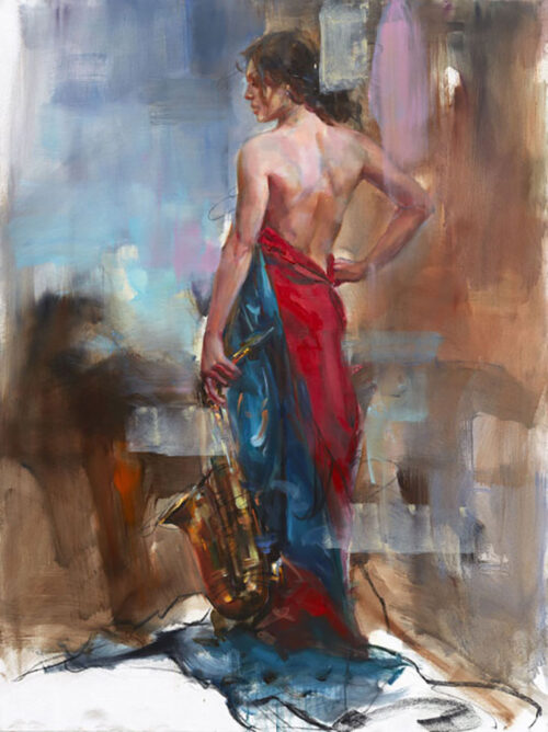 Painting of Female in gown and Saxophone