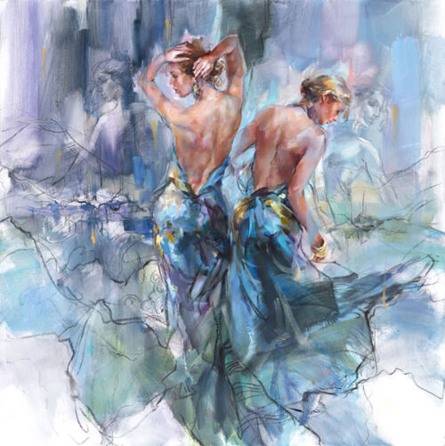 Painting of three women dancing in blue gowns