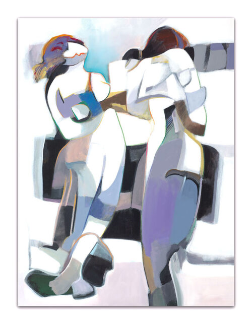Cold Season by Hessam Abrishami. White, blue, and grey, abstract figurative painting. Artwork featuring vibrant colors & contemporary figure painting. Abstract painting that uplift spaces.