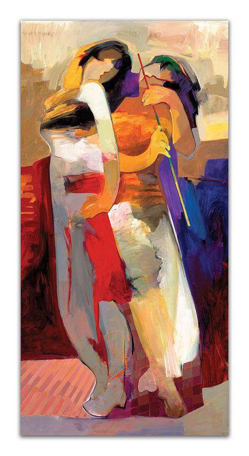 Abstract painting of couple embracing