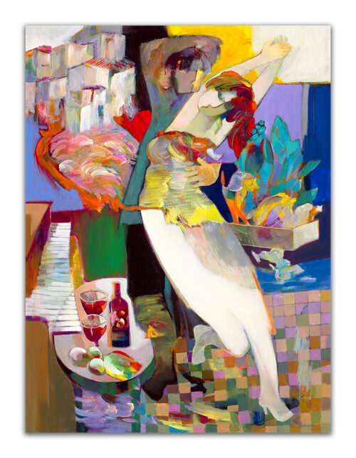 Crazy In Love by Hessam Abrishami. Abstract, Figurative painting with vibrant colors. Artwork featuring vibrant colors & contemporary figure painting. Abstract painting that uplift spaces.