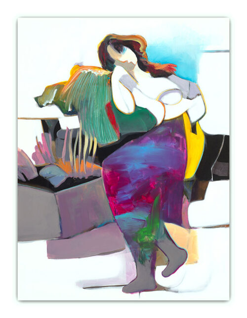 Daydreaming by Hessam Abrishami. Abstract, Contemporary painting of figure. Artwork featuring vibrant colors & contemporary figure painting. Abstract painting that uplift spaces.