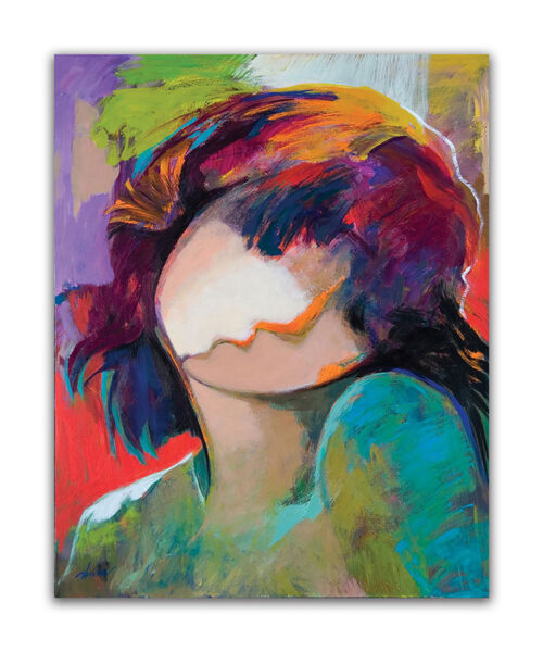 Eternal Beauty by Hessam Abrishami. Abstract Portrait of a Woman. Artwork featuring vibrant colors & contemporary figure painting. Abstract painting that uplift spaces.