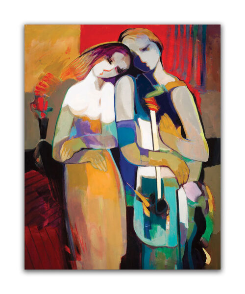 Eternally by Hessam Abrishami. Abstract Figurative painting of romance. Artwork featuring vibrant colors & contemporary figure painting. Abstract painting that uplift spaces.