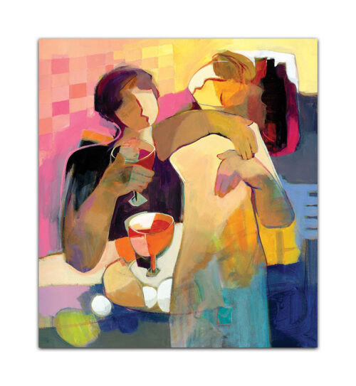 Everlasting by Hessam Abrishami. Figurative Abstract with Vibrant Colors. Artwork featuring vibrant colors & contemporary figure painting. Abstract painting that uplift spaces.