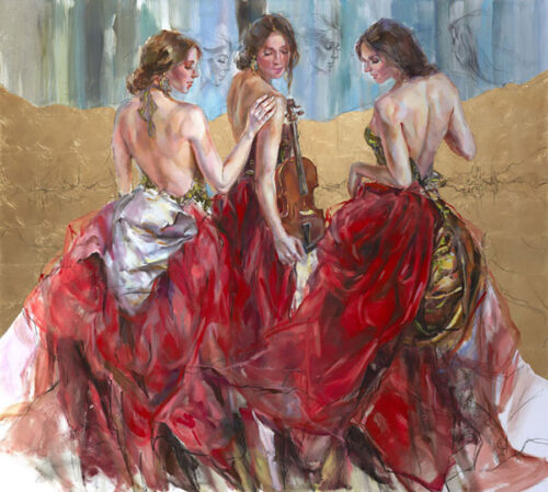 Painting of Females In Red Gowns and Instruments