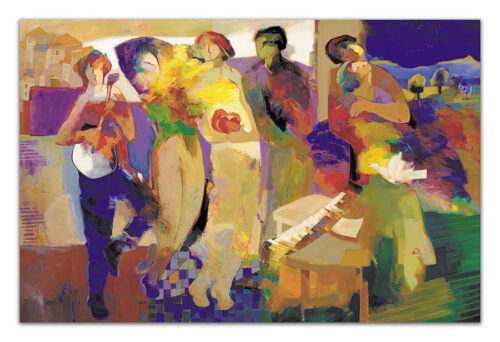 Harmonic Night by Hessam Abrishami. Multiple Figures in a Abstract Painting. Artwork featuring vibrant colors & contemporary figure painting. Abstract painting that uplift spaces.