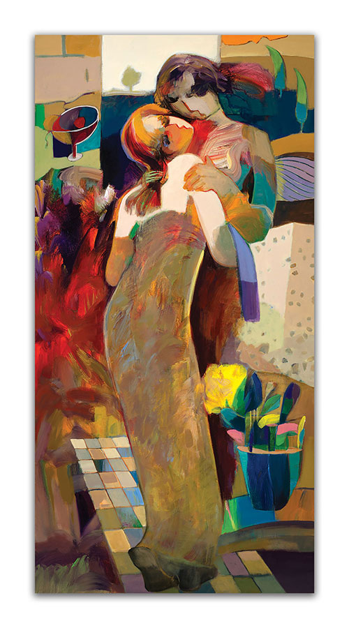In My Arms by Hessam Abrishami. Abstract Painting. Artwork featuring vibrant colors & contemporary figure painting. Abstract painting that uplift spaces.