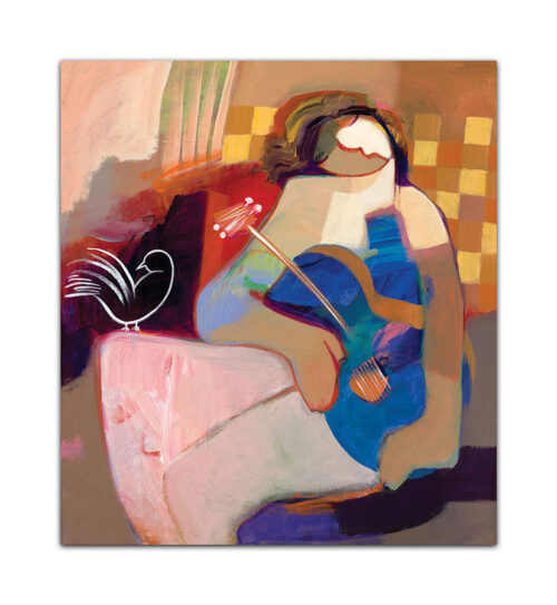 Innocent Heart by Hessam Abrishami. Artwork featuring vibrant colors & contemporary figure painting. Abstract painting that uplift spaces.
