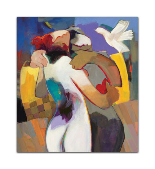 Irresistable Love by Hessam Abrishami. Abstract Painting of Romance. Artwork featuring vibrant colors & contemporary figure painting. Abstract painting that uplift spaces.