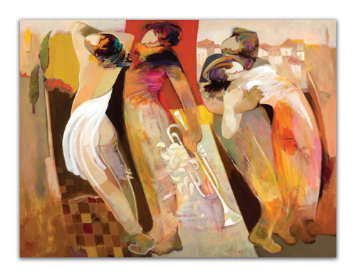 Lovers Harmony. Abstract Painting of Figures embracing. Artwork featuring vibrant colors & contemporary figure painting. Abstract painting that uplift spaces.