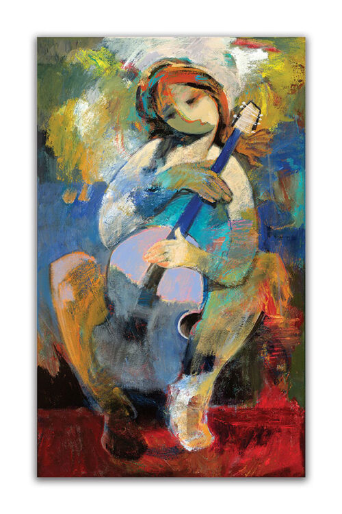 My Harmony by Hessam Abrishami. Abstract Painting of Artist with Guitar. Artwork featuring vibrant colors & contemporary figure painting. Abstract painting that uplift spaces.