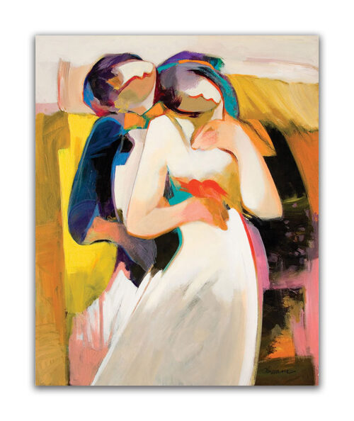 My Valentine by Hessam Abrishami. Romantic Abstract Painting. Artwork featuring vibrant colors & contemporary figure painting. Abstract painting that uplift spaces.