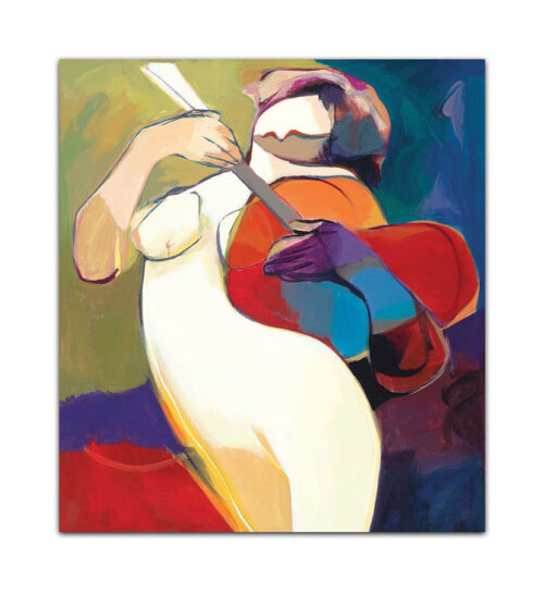 Natures Melody by Hessam Abrishami. Artwork featuring vibrant colors & contemporary figure painting. Abstract painting that uplift spaces.