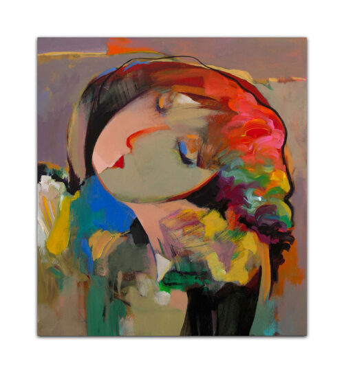 Pega by Hessam Abrishami. Abstract Portrait of a Female. Artwork featuring vibrant colors & contemporary figure painting. Abstract painting that uplift spaces.
