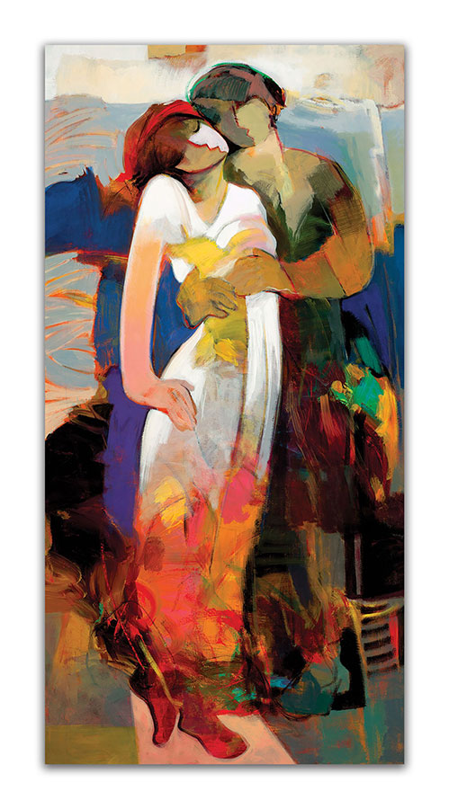 Pure Impressions by Hessam Abrishami. Romantic Abstract Painting of a Couple. Artwork featuring vibrant colors & contemporary figure painting. Abstract painting that uplift spaces.