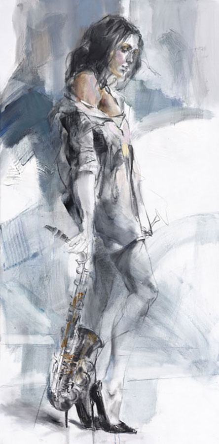 Contour Abstract Painting of Female with Saxophone