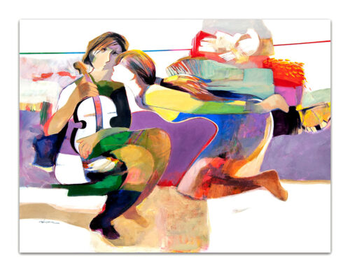 Secret Whisper by Hessam Abrishami. Painting of abstract figures. Artwork featuring vibrant colors & contemporary figure painting. Abstract painting that uplift spaces.
