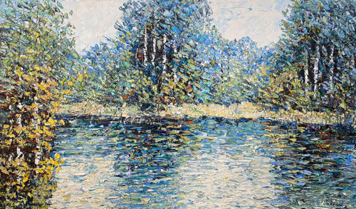 textured oil painting of lake and nature