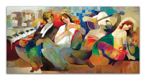 Special Evening by Hessam Abrishami. Painting of abstract figures. Artwork featuring vibrant colors & contemporary figure painting. Abstract painting that uplift spaces.