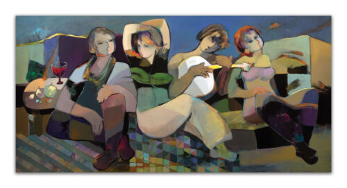 Abstract Painting of figures and music