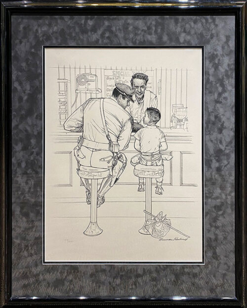 Line Etching of Officer counseling child