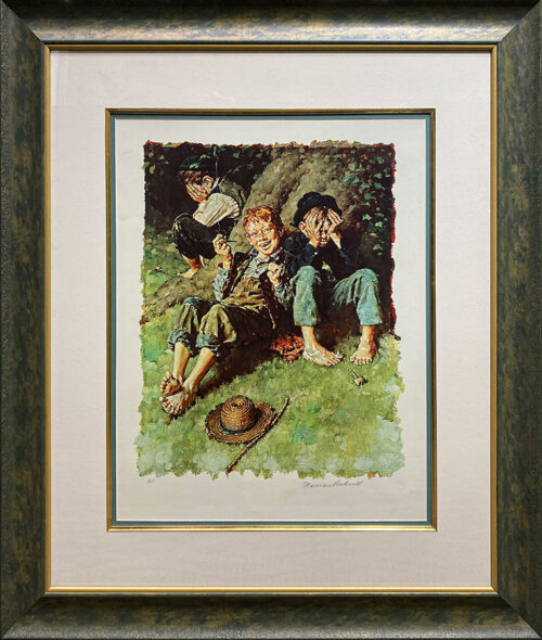 Print of Tom Sawyer and his friends