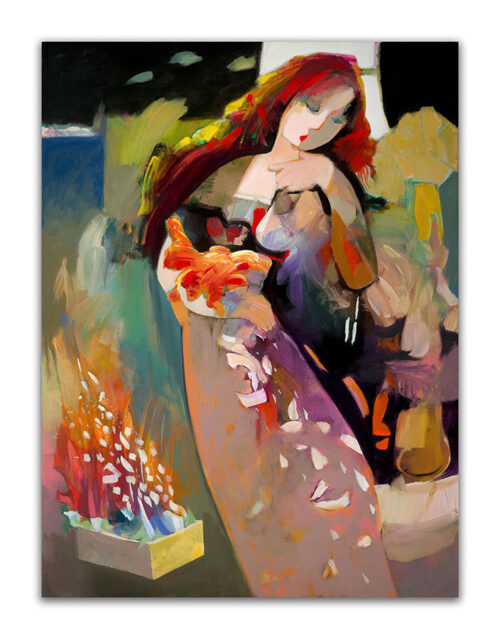 White Feathers by Hessam Abrishami. Abstract Painting of Woman. Artwork featuring vibrant colors & contemporary figure painting. Abstract painting that uplift spaces.