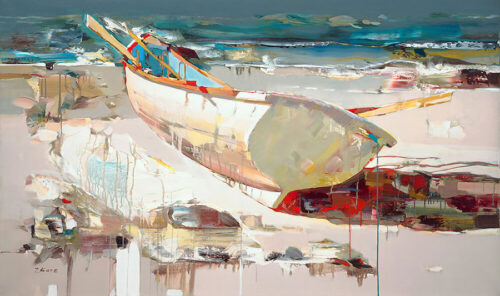 Always Ready by Josef Kote. The abstract colorful canvas depicts a beach scene of a boat painting in Kote's contemporary style.