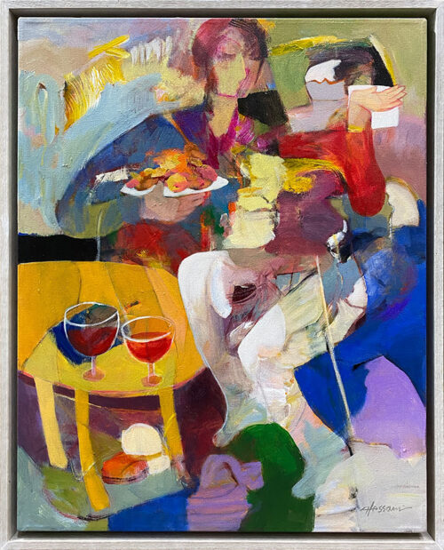 Begging by Hessam Abrishami. Abstract Original Painting. Artwork featuring vibrant colors & contemporary figure painting. Abstract paintings that uplift spaces.