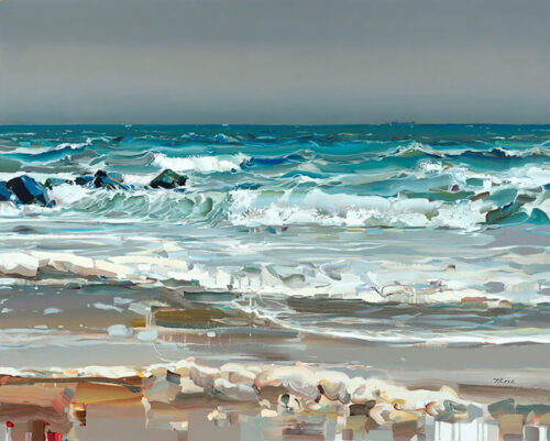 Best Summer by Josef Kote. This ocean painting of waves on the beach is a perfect coastal artwork for your beach house.