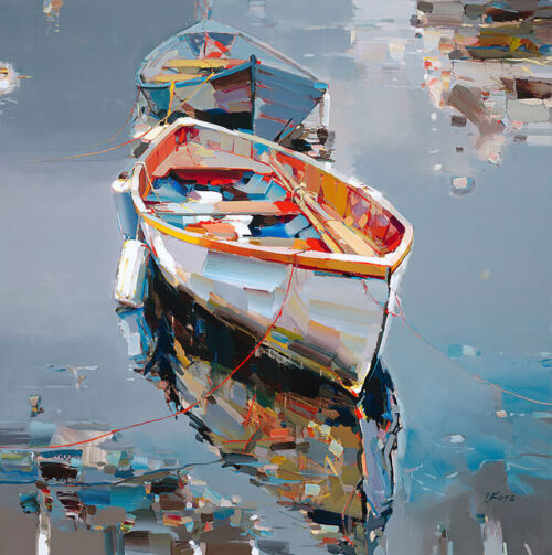 Direct Insight by Josef Kote. Pops of color in this abstract boat meet the muted blue hues in the water of this waterscape.