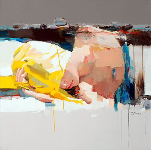 Don't Wake Me Up by Josef Kote.Kote mixes both an abstract and realistic style in this portrait of a woman sleeping.