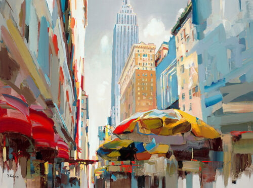 Everlasting Light by Josef Kote. This abstract cityscape shows New York City and the famous NYC skyline in this dynamic artwork.