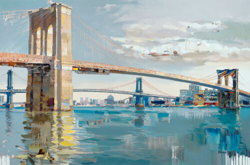 Glory of Expression by Josef Kote. Kote's artwork of The Brooklyn Bridge in New York City breathes light into the city.