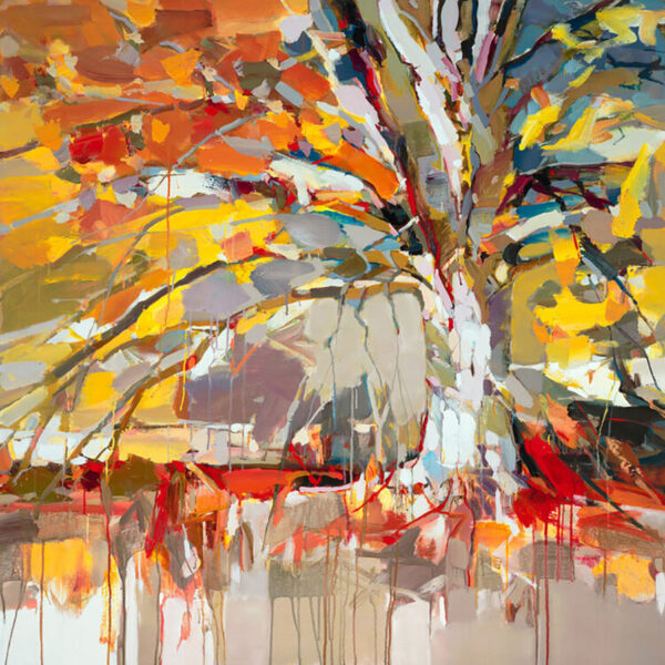 Golden Tree by Josef Kote. This fall painting of autumn colors explodes with energy from this abstract forest artwork.