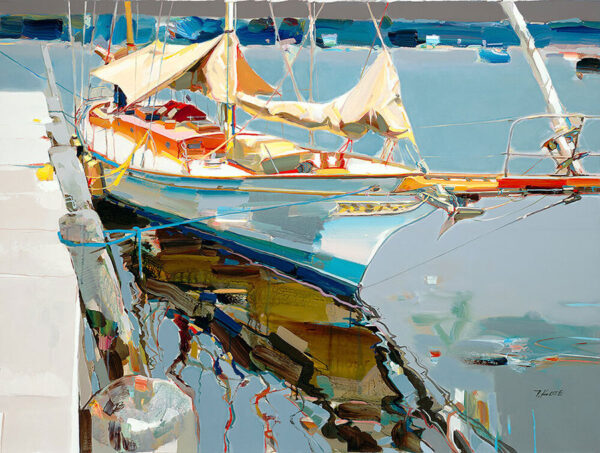 Here to Stay by Josef Kote. Master artist Josef Kote shows his mastery of abstrach realist with this boat painting in a harbor.